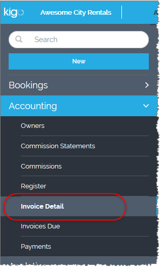 Invoice Detail Category in Navigation Menu