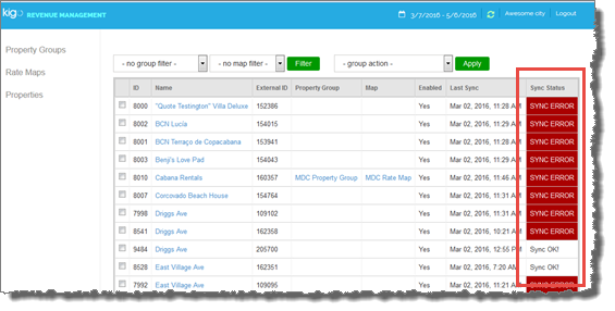 Kigo Revenue Management Properties Page with Sync Status Column