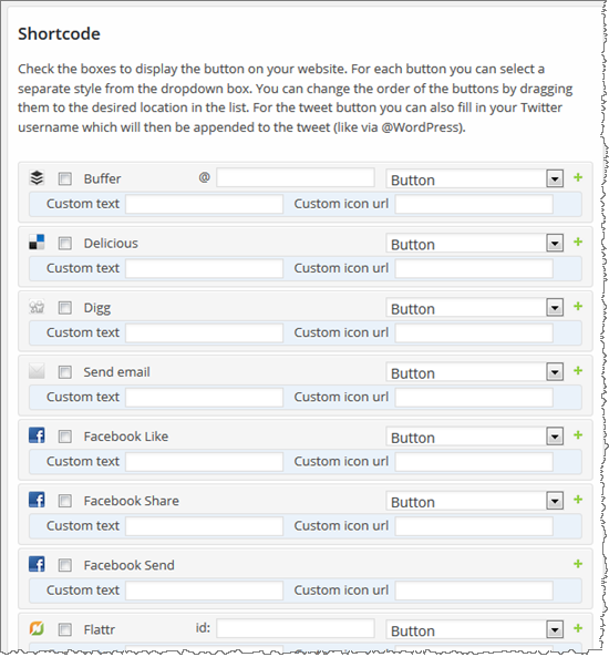 Shortcode Section of the Social Sharing Toolkit